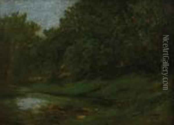 Landscape With A Small Lake Oil Painting - Gustave Courbet