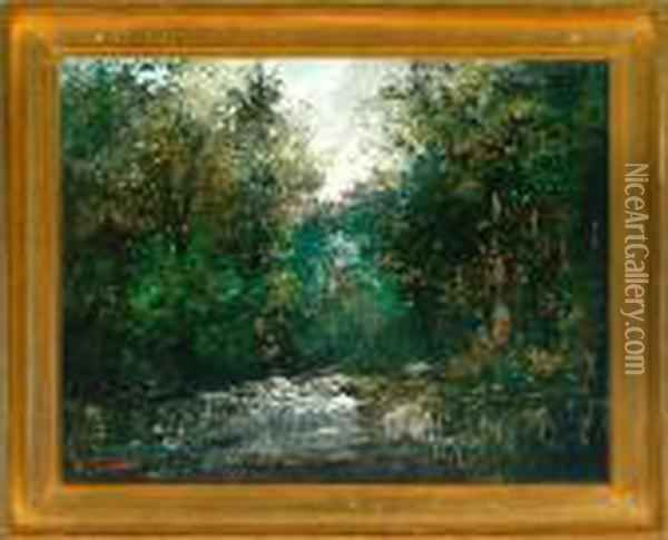 A Path In A Spring Forest Oil Painting - Gustave Courbet