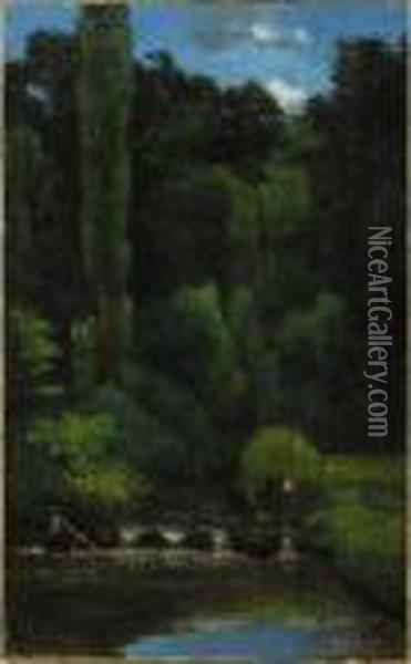 Stream In The Forest Oil Painting - Gustave Courbet