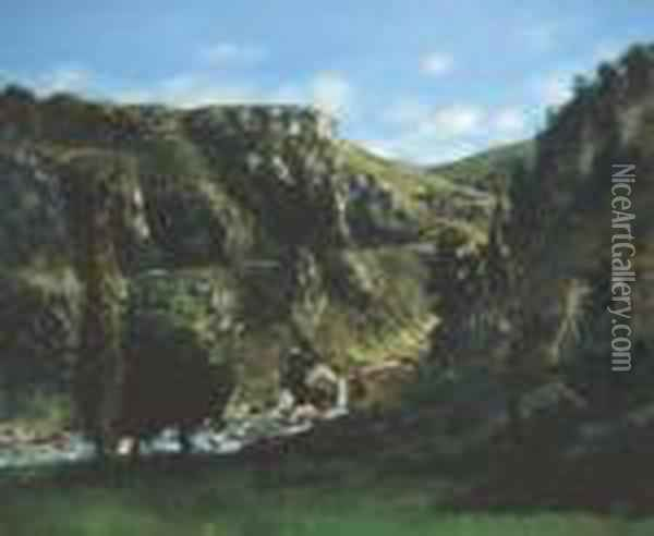 Valley Of The Loue, Possibly Near Mouthier-haute-pierre Oil Painting - Gustave Courbet