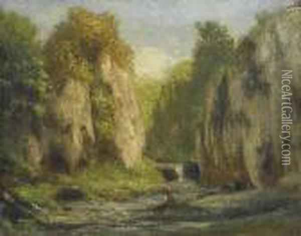 River Landscape With Rocks. Oil Painting - Gustave Courbet