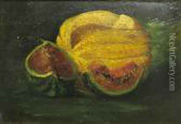 A Still Life With Melons Oil Painting - Gustave Courbet