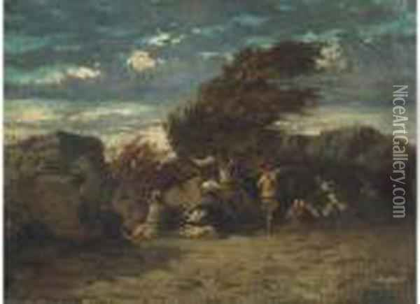 A Skirmish Oil Painting - Gustave Courbet