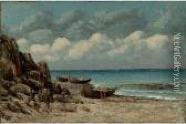 Fishing Boats On The Normandy Coast Oil Painting - Gustave Courbet