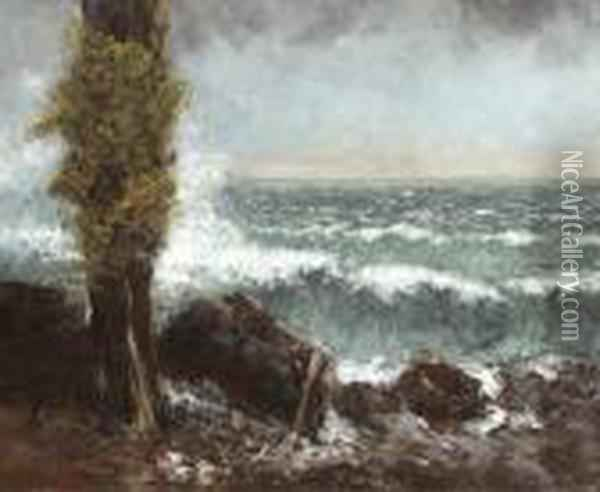 Marine, Le Peuplier Oil Painting - Gustave Courbet