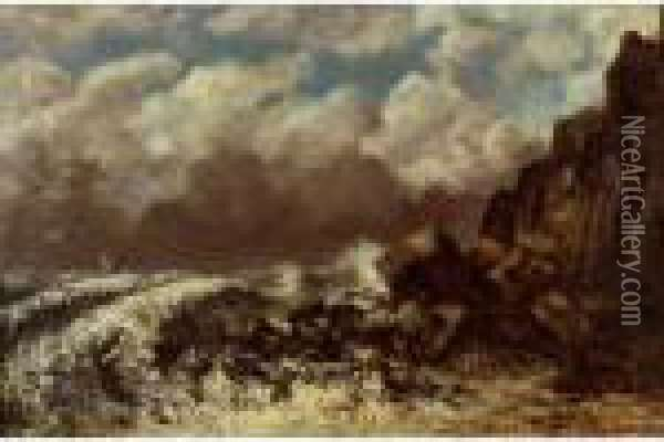 Marine A Etretat Oil Painting - Gustave Courbet