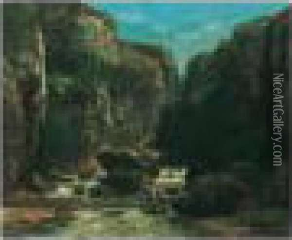 Bears Signature L.r. Oil Painting - Gustave Courbet