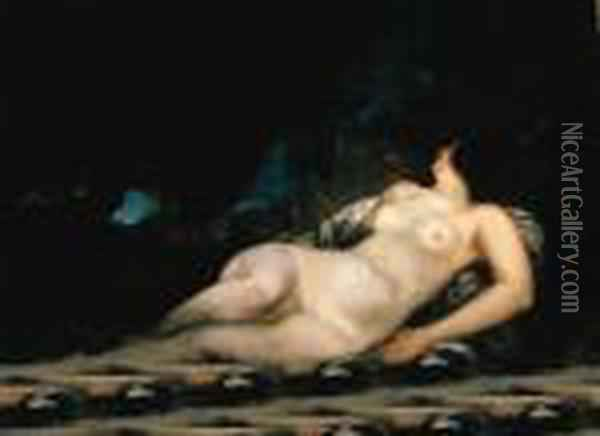 Femme Endormie, Tude Oil Painting - Gustave Courbet