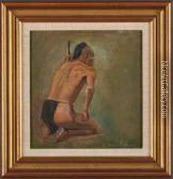 Warrior Sketch Oil Painting - Eanger Irving Couse