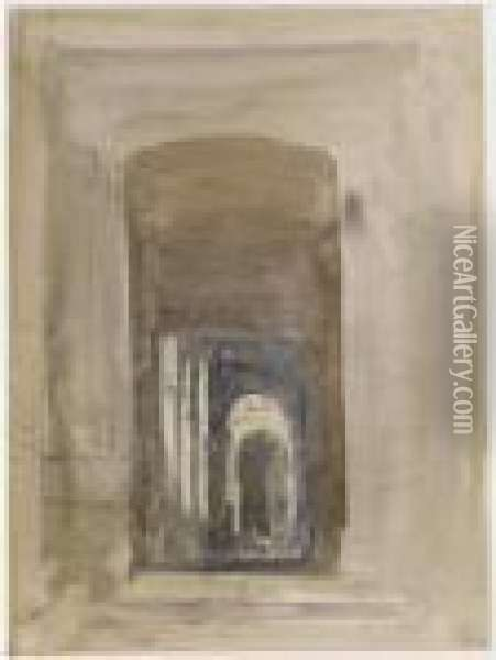 Study For The Door Of The Church Of Saint-roch, Paris Oil Painting - David I Cox