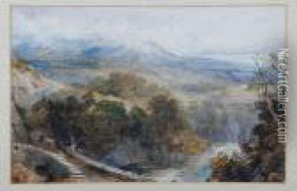 A View Across A Stone Bridge With Cloud Covered Mountains On The Horizon Oil Painting - David Cox