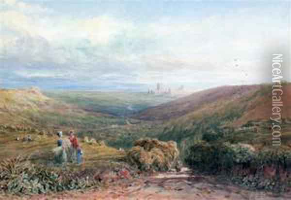 Harvesters In An Extensive Landscape Oil Painting - David Cox