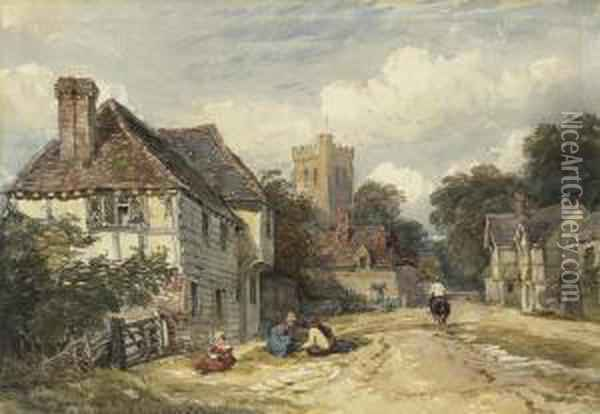 A Village Street With Figures And A Horseman, A Church Oil Painting - David Cox