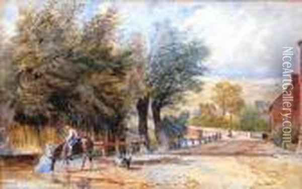 Village Scene With Figure Onhorseback Dogs And Cottages Beyond Oil Painting - David Cox