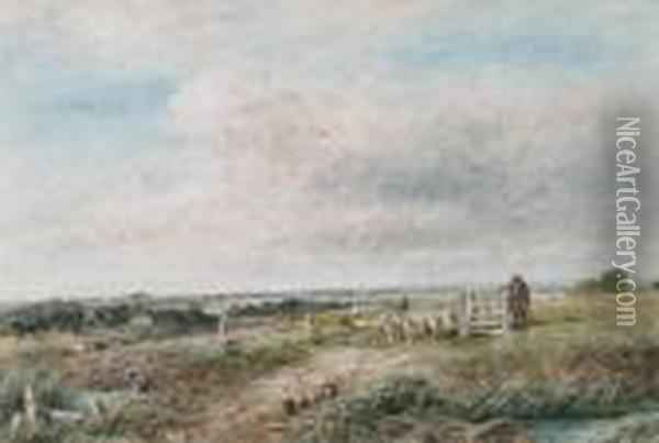 A Shepherd And Flock By A Gate In An Open Landscape Oil Painting - David Cox