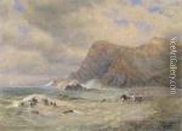 Coastal Scene With Wreckers By The Cliffs Oil Painting - David Cox