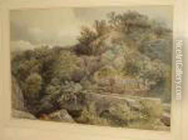 Wooded Rocky Landscape, With Stone Bridge Over A River Gorge Oil Painting - David Cox