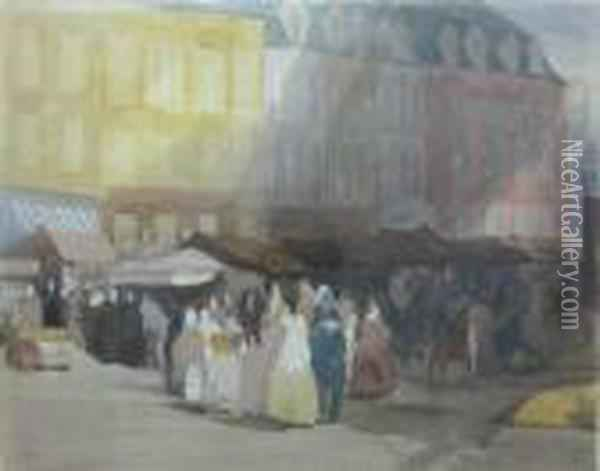 Market Scene At Boulogne Oil Painting - David Cox