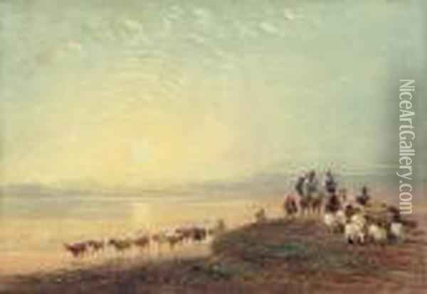 Figures Crossing The Sands, Ulverston Oil Painting - David Cox