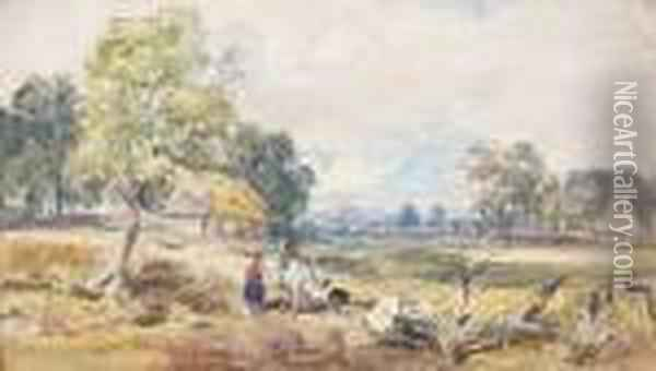 Travellers By A Common Oil Painting - David Cox