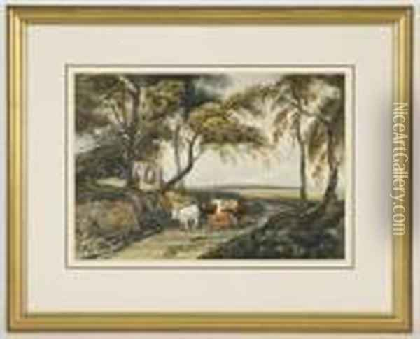 Depicting Cattle In A Landscape Oil Painting - David Cox