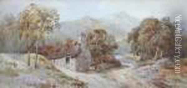 Welsh Landscape With A Cottage And A Cart Oil Painting - David Cox