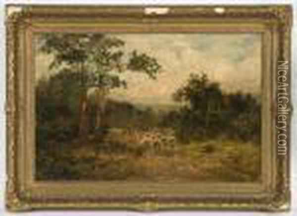 A Flock Of Sheep In A Landscape Oil Painting - David Cox