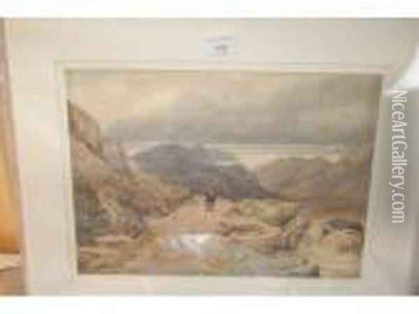 Figure In A Landscape Oil Painting - David Cox