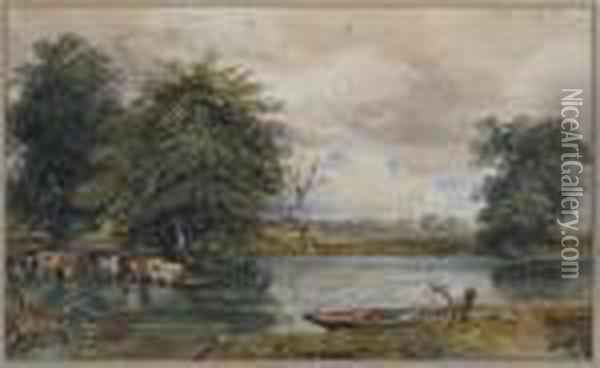River Landscape With Cattle And A Punt Oil Painting - David Cox