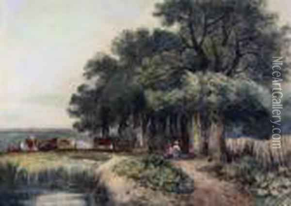 Picnic Under The Trees Oil Painting - David Cox