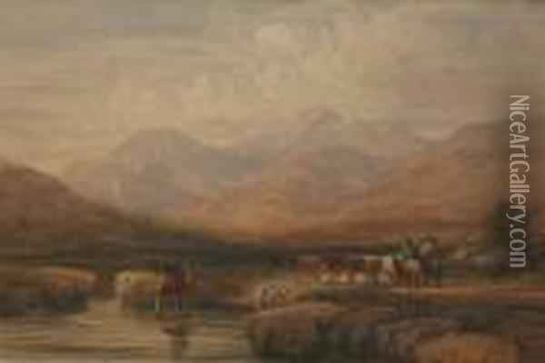 Welsh Drovers Near Capel Carig Oil Painting - David Cox