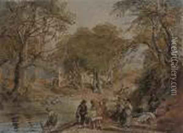 Figures Washing At The River Oil Painting - David Cox