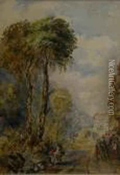 Figures On A Path With Distant Buildings Oil Painting - David Cox