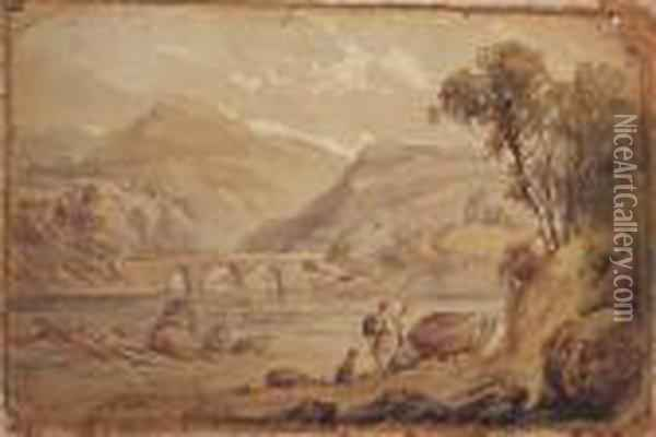 Figures In A Highland Water Landscape Oil Painting - David Cox