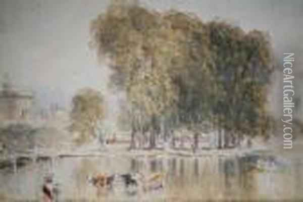 Burlington House, Piccadilly, And Another Ofthe Thames, Windsor Castle, A Pair Oil Painting - David Cox