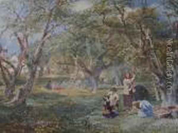 Picking Apples In The Orchard Oil Painting - David Cox
