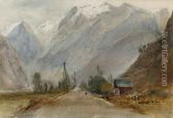 Near Bourg D'oysans, France Oil Painting - David Cox
