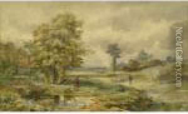 Rural Landscape Withfigure By Pond And Shepherd With Flock Oil Painting - David Cox