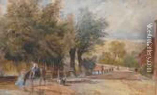 Jnr - Village Scene With Figure On Horseback Oil Painting - David Cox
