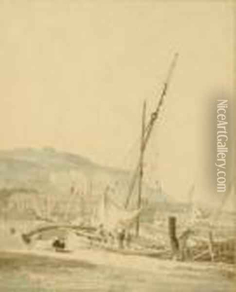 Sailingboat In A Harbor; And Two Companion Works Oil Painting - David Cox