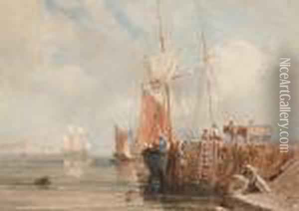 Sailing Boats At A Quayside, Possibly Criccieth Oil Painting - David Cox