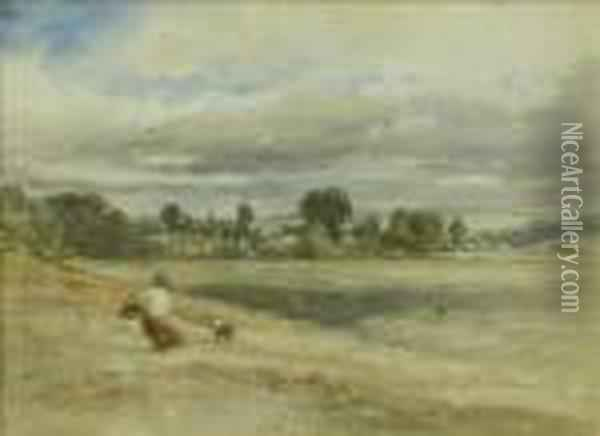 Woman And Collie On A Hillside, A Town Beyond Oil Painting - David Cox