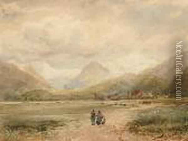Figures On A Country Path 'david Cox Junior/1860' (lower Left) Oil Painting - David Cox