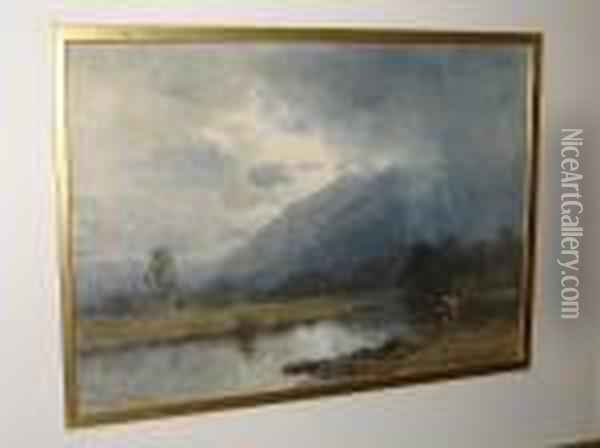 A Stormy River Landscape, A Fisherman To The Fore Oil Painting - David Cox