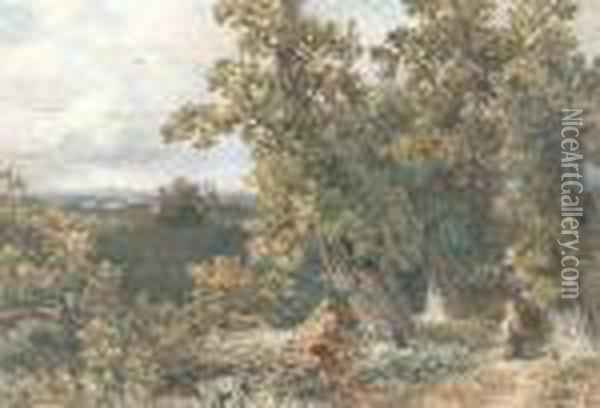 Woman In A Wood Near Windsor Oil Painting - David Cox