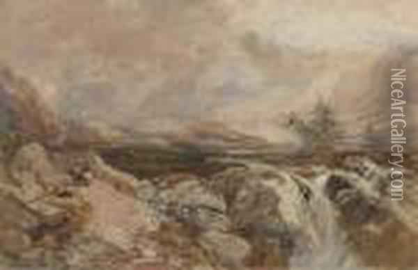 Figures In A Welsh Valley Oil Painting - David Cox
