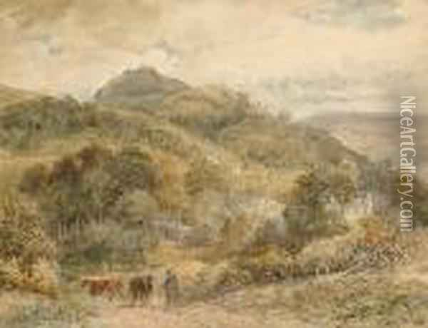 Drover With Cattle In A Country Lane Oil Painting - David Cox