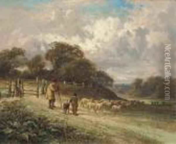 A Lesson In Shepherding Oil Painting - David Cox