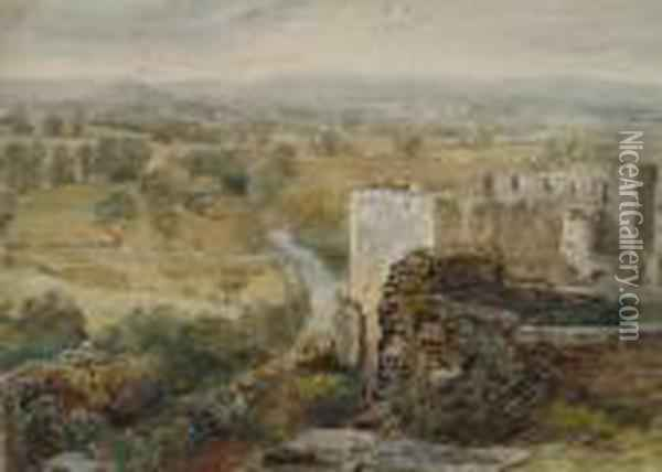 Ludlow - A View From The Castle Ramparts Oil Painting - David Cox