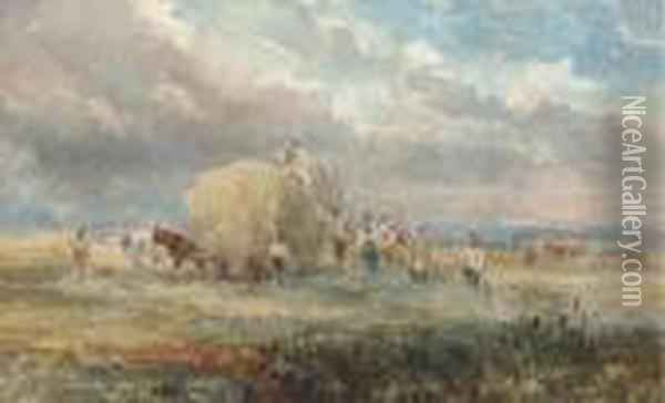 Harvesters Loading The Hay Wagon Oil Painting - David Cox